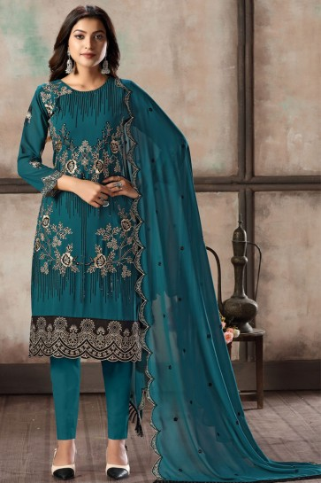 Turquoise Embroidered Lace Work Faux Georgette Designer Salwar Suit With Dupatta