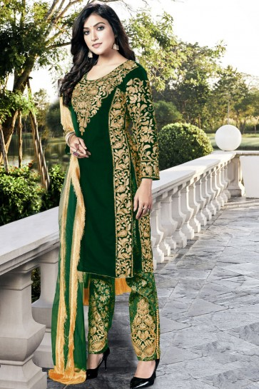 Velvet Green Embroidered Lace Work Work Designer Salwar Suit With Dupatta