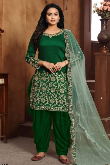 Green Embroidered Lace Work Art Silk Fabric Patiala Suit With Dupatta