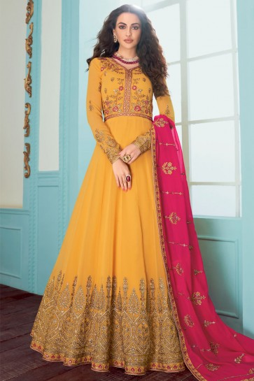 Embroidered Yellow Fuax Georgette Abaya Style Anarkali Suit With Georgette Dupatta