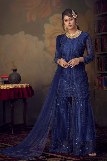 Blue Embroidered Stone Work Net Fabric Salwar Suit With Dupatta