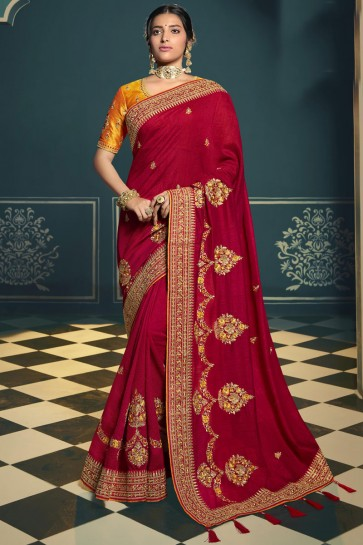 Stunning Red Silk Designer Embroidered Lace Work Saree With Blouse