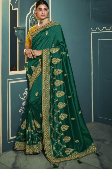 Green Silk Embroidered Lace Work Designer Saree With Blouse