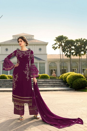 Embroidered Stone Work Georgette Fabric Wine Plazzo Suit With   Dupatta