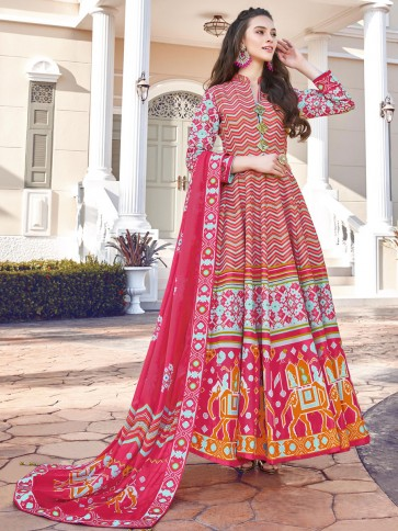 Digital Printed Silk Multicolor Anarkali Suit With  Dupatta