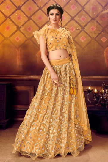 Awesome Mustard Net Fabric Sequence Embroidered Lehenga Choli With Net Dupatta