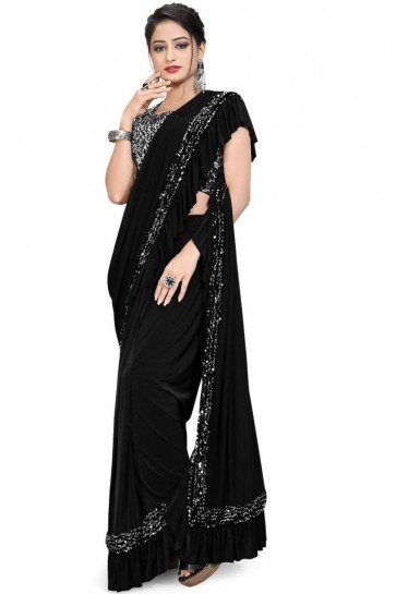 Black Imported Lycra Fabric Thread Sequins Work Party Wear Saree With Blouse