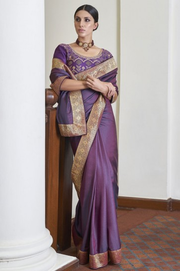 Purple Silk Fabric Weaving Lace Work Designer Saree With Blouse