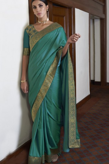 Silk Fabric Weaving Lace Work Designer Green Color Saree With Blouse