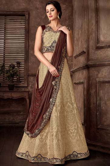 Fancy Fabric Beige Embroidred Thread Work Designer Saree With Blouse
