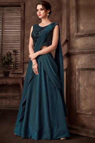 Fancy Fabric Embroidred Thread Work Designer Rama Saree With Blouse