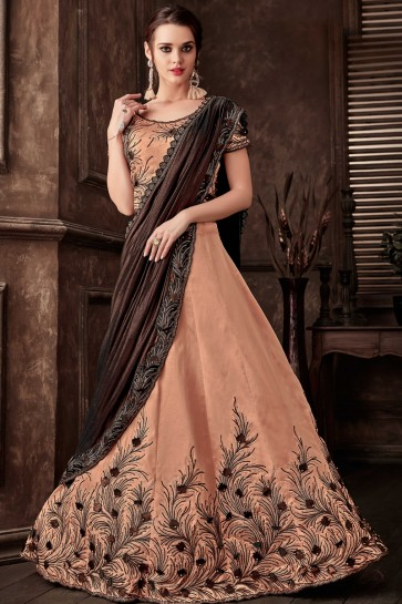Embroidred Thread Work Peach Fancy Fabric Saree With Blouse
