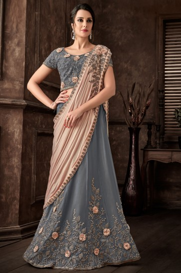 Fancy Fabric Embroidred Thread Work Designer Grey Saree With Blouse