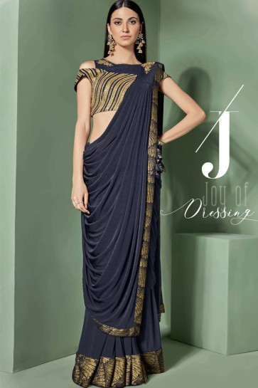 Embroidered Thread Work Navy Blue Fancy Fabric Saree With Blouse