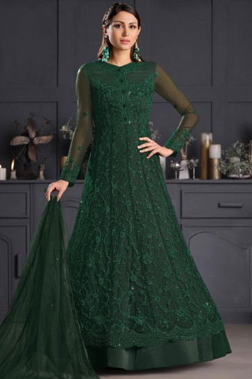Green Embroidered Thread Work Net Western Suit With Net Dupatta
