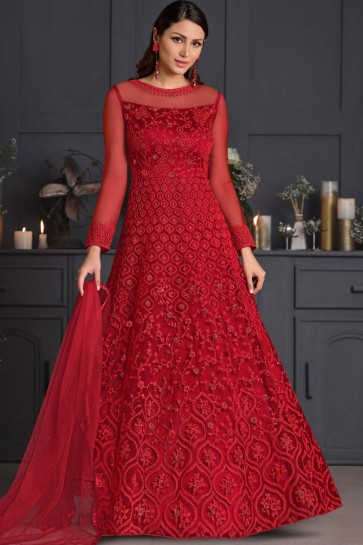 Embroidered Thread Work Net Red Western Suit With Net Dupatta
