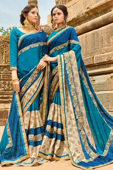 Excellent Blue Georgette Party Wear Saree With Banglori Silk  Blouse