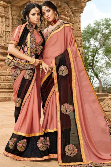 Admirable Peach Georgette Party Wear Saree With Banglori Silk  Blouse