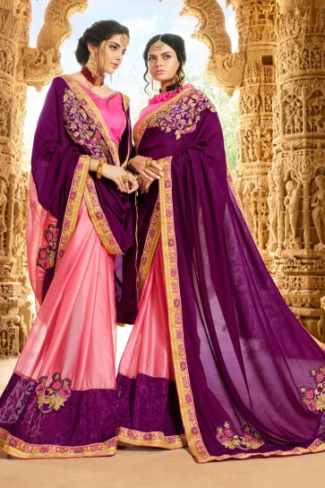Supreme Purple and Pink Georgette Party Wear Saree With Banglori Silk  Blouse