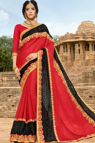 Gorgeous Red and Black Georgette Party Wear Saree With Banglori Silk  Blouse