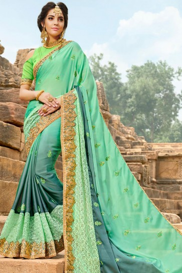 Desirable Green Georgette Party Wear Saree With Banglori Silk  Blouse