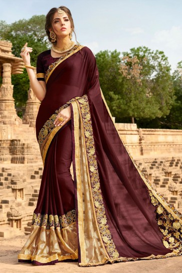 Classic Coffee Georgette Party Wear Saree With Banglori Silk  Blouse