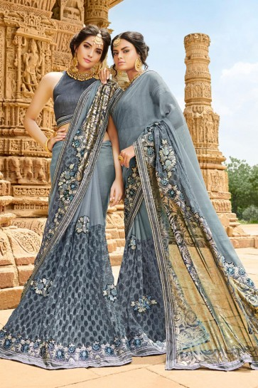 Lovely Grey Georgette Party Wear Saree With Banglori Silk  Blouse