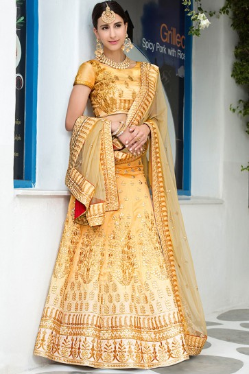 Gorgeous Golden Silk Gotta Patti Long Length Designer Lehenga Choli With Net Dupatta