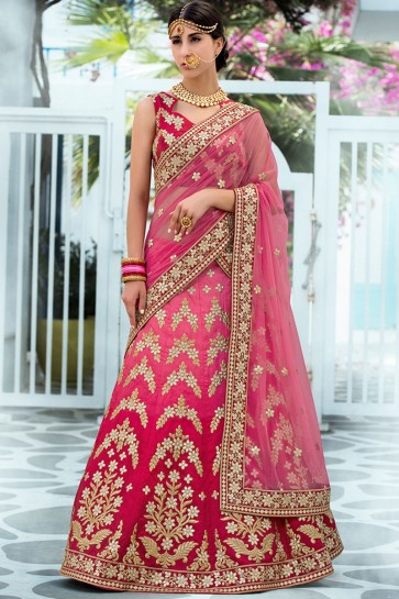 Classic Pink Silk Gotta Patti Long Length Designer Lehenga Choli With Net Dupatta