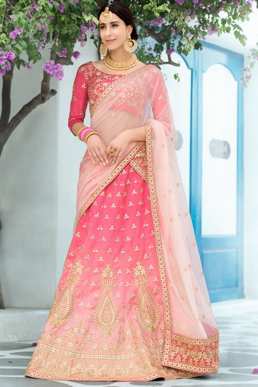 Charming Pink Silk Gotta Patti Designer Lehenga Choli With Net Dupatta