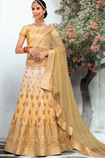Desirable Golden Silk Gotta Patti Long Length Designer Lehenga Choli With Net Dupatta