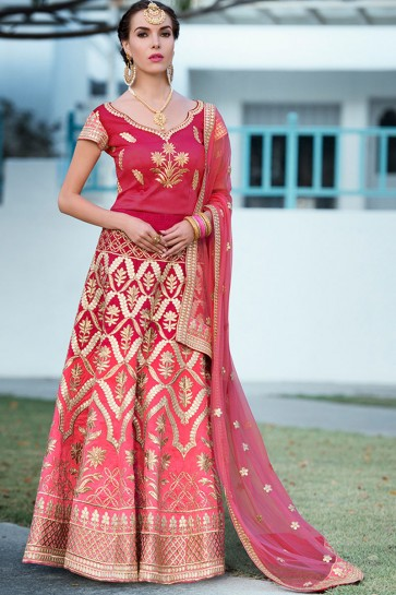 Ultimate Pink Silk Gotta Patti Long Length Designer Lehenga Choli With Net Dupatta