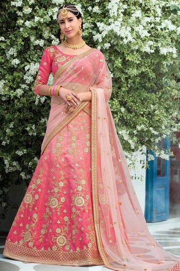 Optimum Pink Silk Gotta Patti Designer Lehenga Choli With Net Dupatta