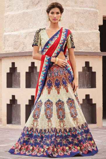 Lovely Beige Silk Digital Printed Lehenga Choli With Silk Dupatta