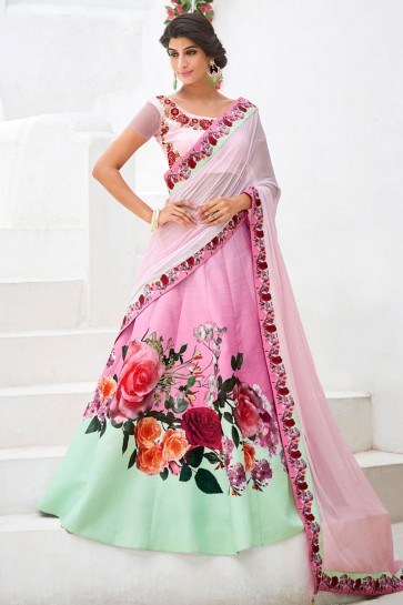 Pretty Pink Silk Digital Printed Long Length Lehenga Choli With Silk Dupatta