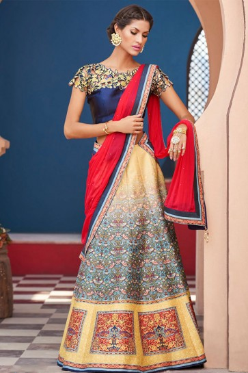 Charming Beige Silk Digital Printed Long Length Lehenga Choli With Silk Dupatta