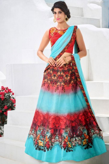 Stylish Red and Sky Blue Silk Digital Printed Lehenga Choli With Silk Dupatta