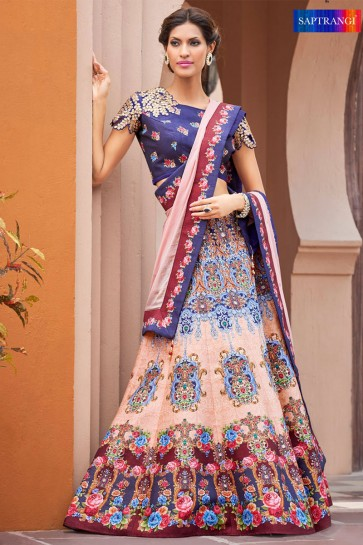 Gorgeous Peach Silk Digital Printed Long Length Lehenga Choli With Silk Dupatta