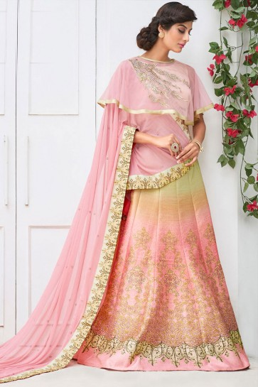 Graceful Peach Silk Digital Printed Lehenga Choli With Silk Dupatta