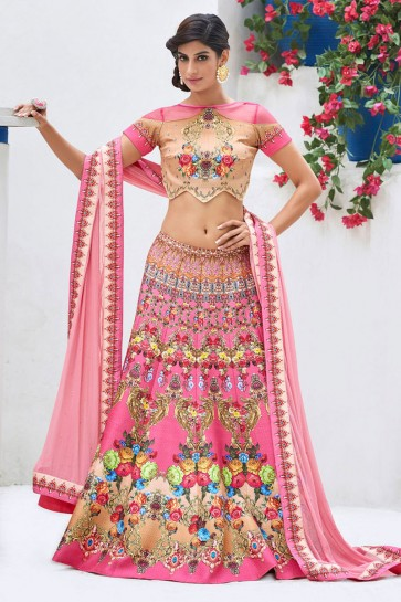 Ultimate Pink Silk Digital Printed Lehenga Choli With Silk Dupatta