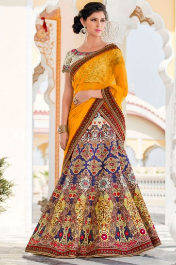 Admirable Blue Silk Designer Digital Printed Lehenga Choli With Silk Dupatta