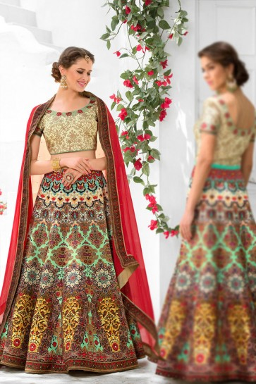 Charming Turquoise Silk Designer Digital Printed Long Length Lehenga Choli With Silk Dupatta