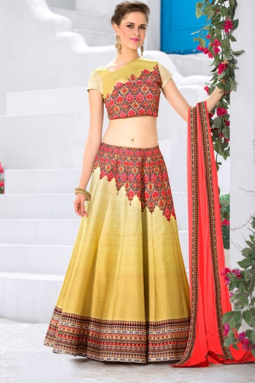 Excellent Golden Silk Designer Digital Printed Long Length Lehenga Choli With Silk Dupatta