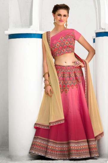 Gorgeous Pink Silk Designer Digital Printed Long Length Lehenga Choli With Silk Dupatta