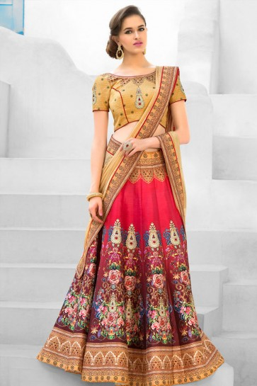 Pretty Pink Silk Designer Digital Printed Long Length Lehenga Choli With Silk Dupatta