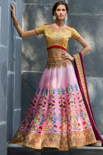Supreme Pink Silk Designer Digital Printed Long Length Lehenga Choli With Silk Dupatta