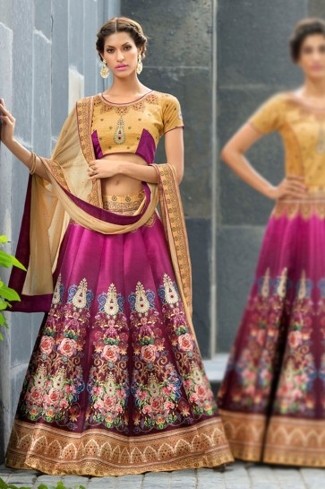 Stylish Magenta Silk Designer Digital Printed Lehenga Choli With Silk Dupatta