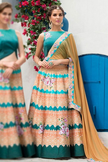 Beautiful Peach Silk Designer Digital Printed Long Length Lehenga Choli With Silk Dupatta