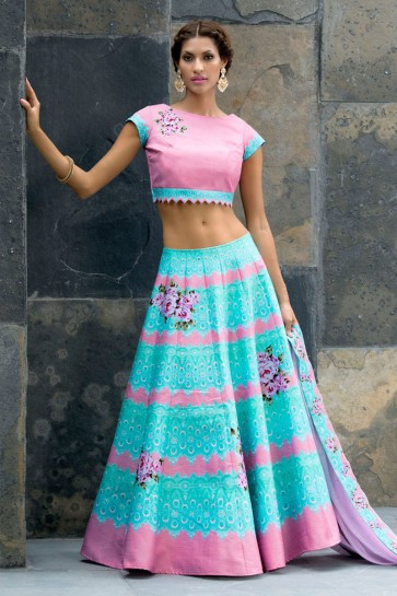 Lovely Pink and Sky Blue Silk Designer Digital Printed Long Length Lehenga Choli With Silk Dupatta