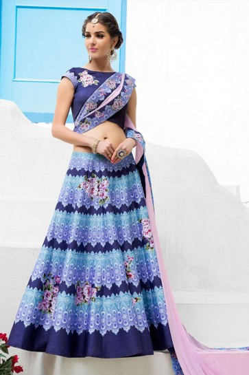 Pretty Navy Blue Silk Designer Digital Printed Lehenga Choli With Silk Dupatta